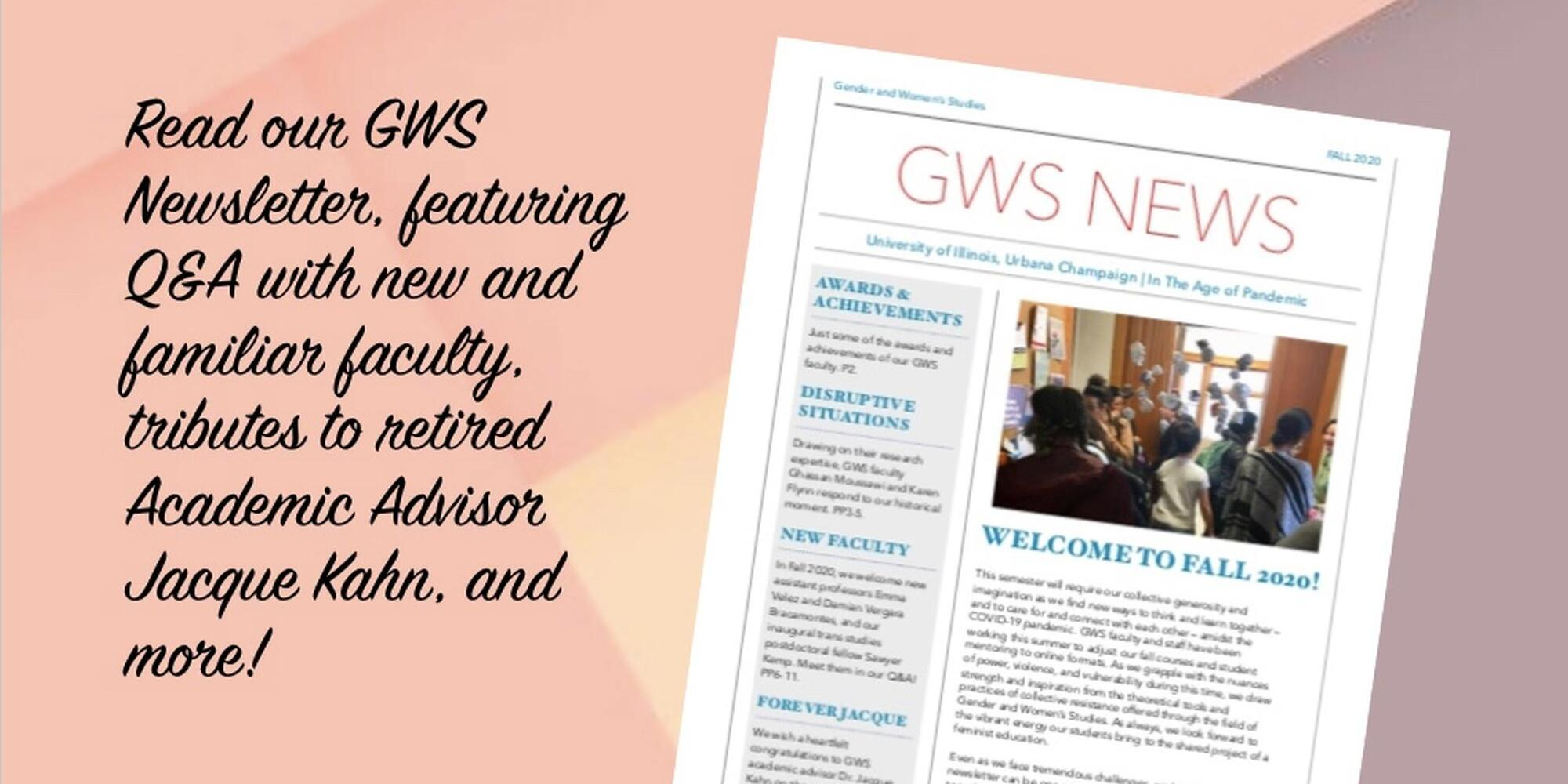 "An image of the first page of the newsletter on a peach and purple background with the text, ""Read our GWS Newsletter!"""